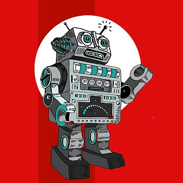 robot robot machine AI KI mechanics retro physic automatic toy red big man lights robby mr. robot KI retro by originalstar