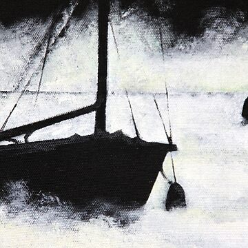 ship sailing painting fog sailor sea mystic black white art by originalstar