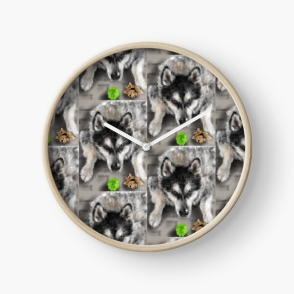 Playful Husky Dog With Toys Clock