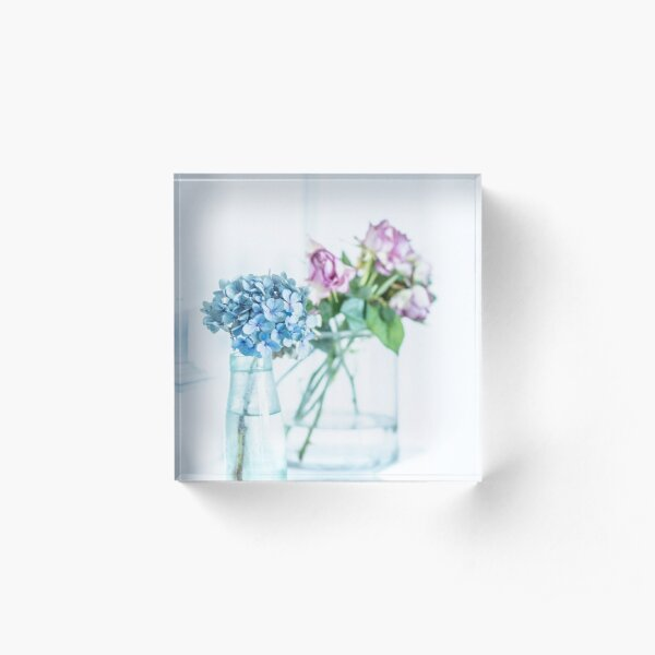 Blue Hydrangea and Pink Roses Acrylic Block