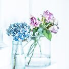 Blue Hydrangea and Pink Roses by Tamsyn Morgans