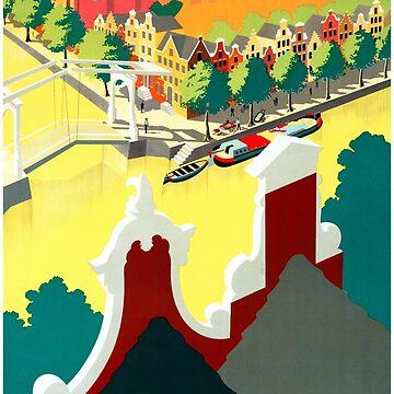 Holland Vintage Travel Poster Restored by vintagetreasure