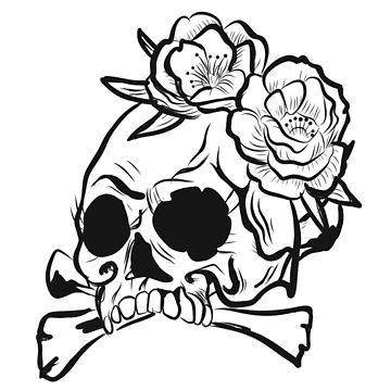 Skull with flowers and bones by matches1