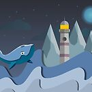 Lighthouse Whale Digital Art by uxking
