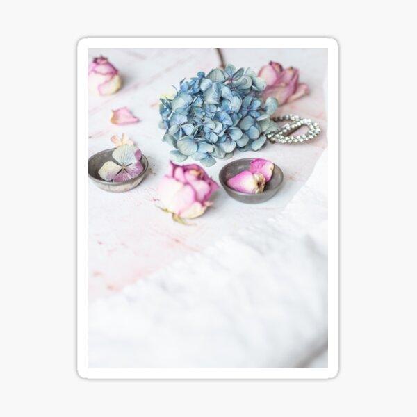 Hydrangea and pink petals Sticker