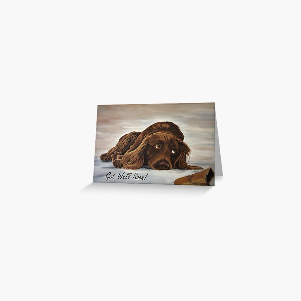 Naughty Spaniel - Get Well Soon Card Greeting Card