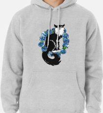 Tuxedo Cat Blue Floral Art Pullover Hoodie
