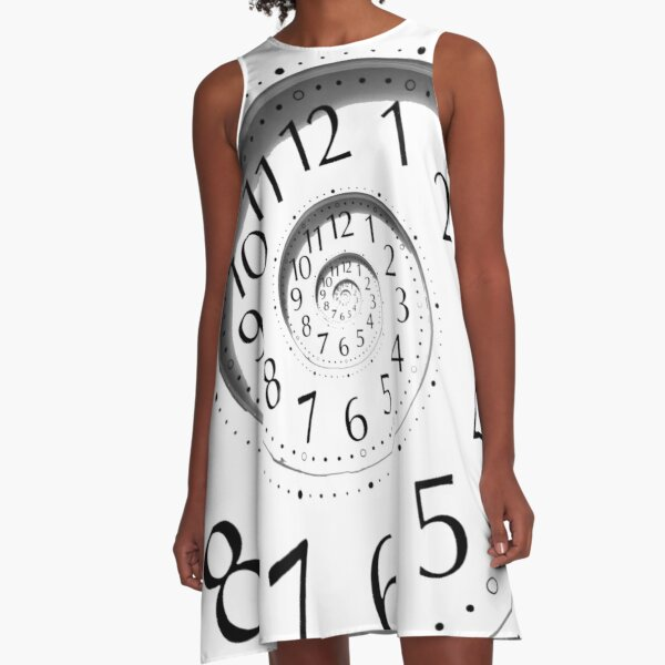 #clock, #watch, #deadline, #timer, #time, countdown, number, alarm clock, dial in, midnight, chronometer, accuracy, dial A-Line Dress