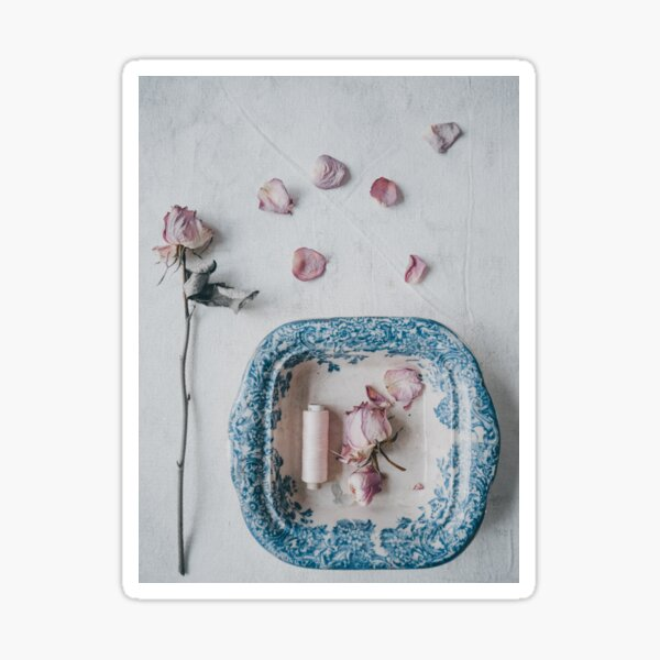 Vintage Bowl and Roses Sticker