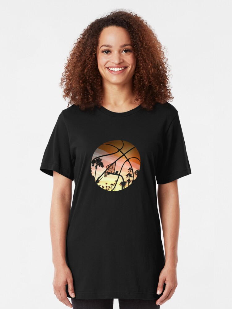 Alternate view of Basketball hoop in basketball at sunset Slim Fit T-Shirt