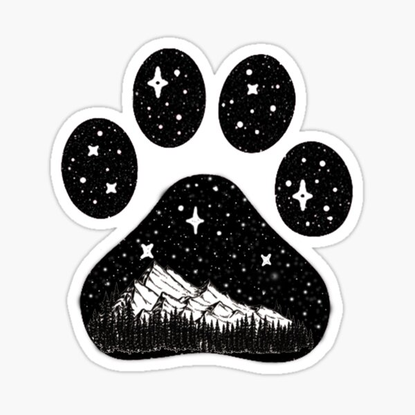 Dog paw camping forest mountain gift for puppies lover  Sticker