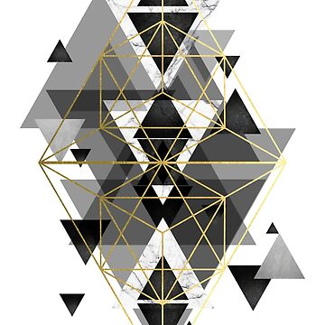 Black White and gold Geometric Perfection by UrbanEpiphany