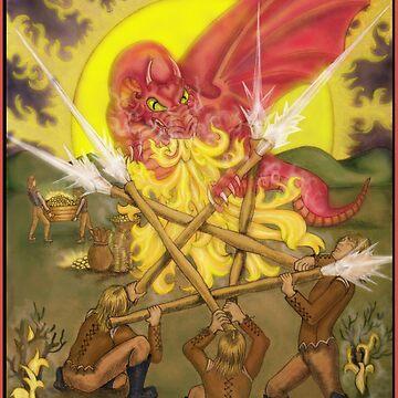 Dragon Fight - Five of Wands Tarot by dreamlyn