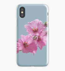 Pink Mallow Flowers Photo to Paint on Blue iPhone Case/Skin