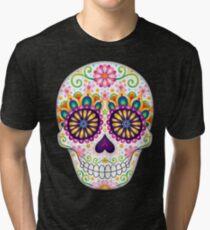Sugar Skull with Flowers - Art by Thaneeya McArdle Tri-blend T-Shirt