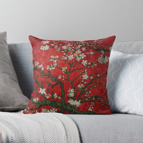 Almond Blossoms Red Vincent Van Gogh Throw Pillow