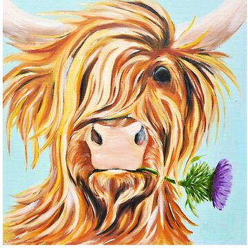 Highland Cattle - Highland Cow Painting - Highland Cow Gift - Gift For Cow Lovers by Galvanized