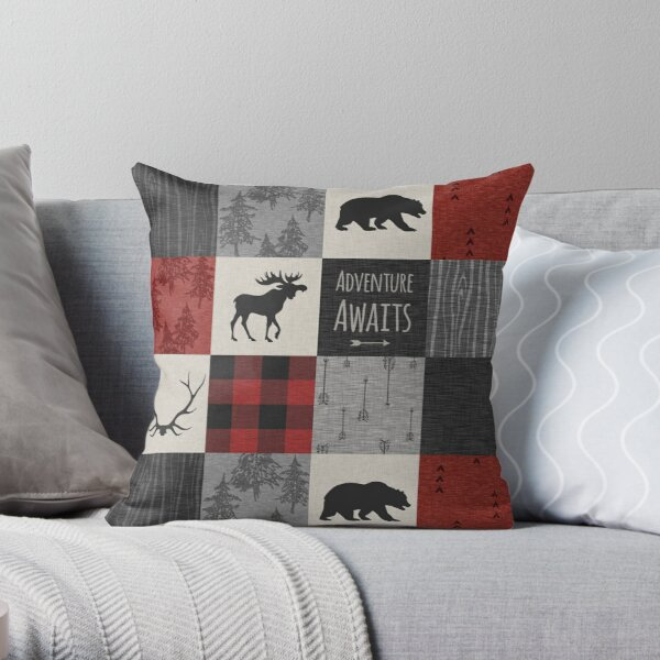Adventure Patchwork - Red And Black Throw Pillow