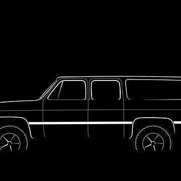 4x4 Chevy Suburban - profile stencil, white by mal-photography