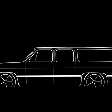 Slammed Chevy Suburban - profile stencil, white by mal-photography