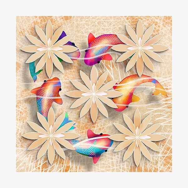 Golden Rainbow Koi Photographic Print
