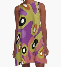 Amoeba Leaf Plum A-Line Dress