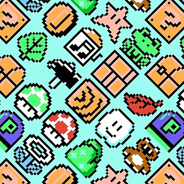 Super Mario Bros. 3 / Items 2 / pattern / blue by danteartist