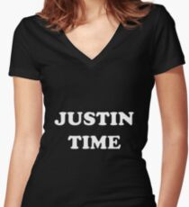 JUSTIN TIME Women's Fitted V-Neck T-Shirt