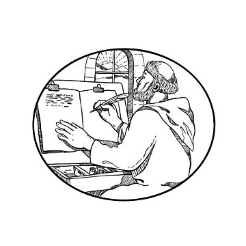 Monastic Monk Writing Illuminated Manuscript Drawing Black and White by patrimonio