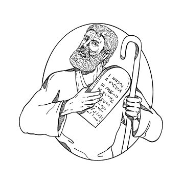Moses With Ten Commandments Drawing Black and White by patrimonio