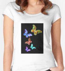 Rainbow Butterflies Fitted Scoop T-Shirt