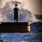 Rough seas in Portugal by Julie Teague