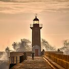 The lighthouse at Faro Portugal by Julie Teague