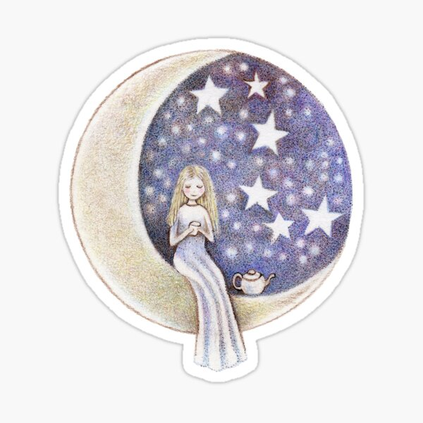 having tea on the moon under the stars Sticker