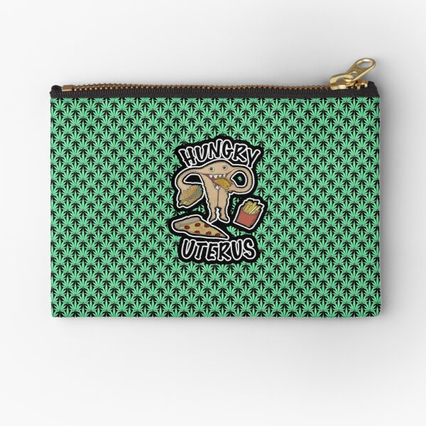Hungry Uterus Cheeseburger French Fries Taco Weed Leaf Repeat  Zipper Pouch