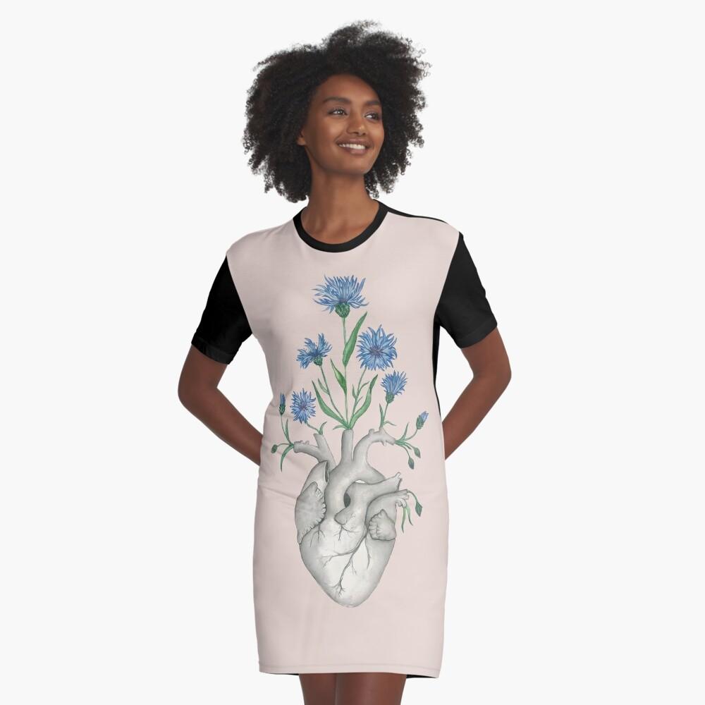 Floral Heart: Human Anatomy Cornflower Flower Halloween Gift Graphic T-Shirt Dress