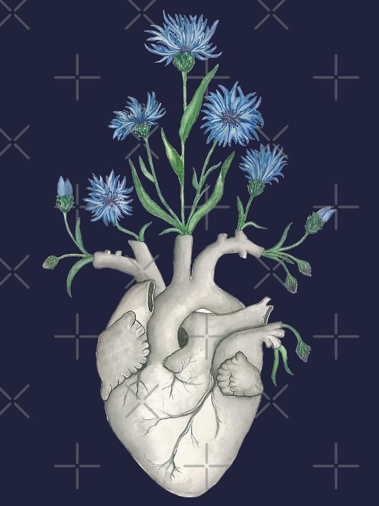 Floral Heart: Human Anatomy Cornflower Flower Halloween Gift by osuariumfloreus