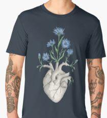 Floral Heart: Human Anatomy Cornflower Valentines Day Gift Men's Premium T-Shirt