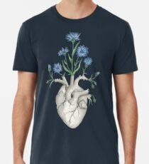 Camiseta premium para hombre Corazón Floral: Anatomía Humana Flor de Aciano Día del Padre Regalo