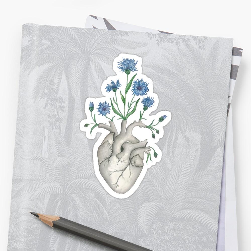 Floral Heart: Human Anatomy Cornflower Mothers Day Gift by Ossuarium Floreus