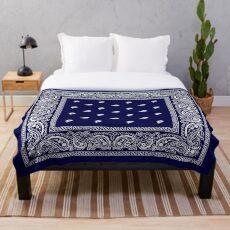 Bandana Blue  Throw Blanket