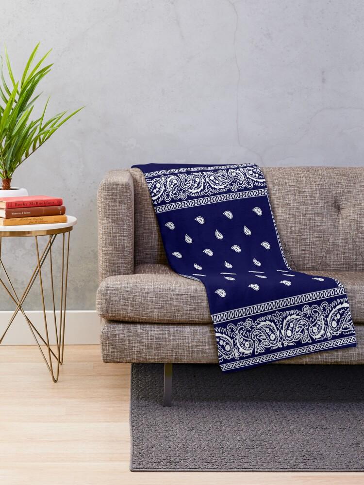 Alternate view of Bandana Blue  Throw Blanket