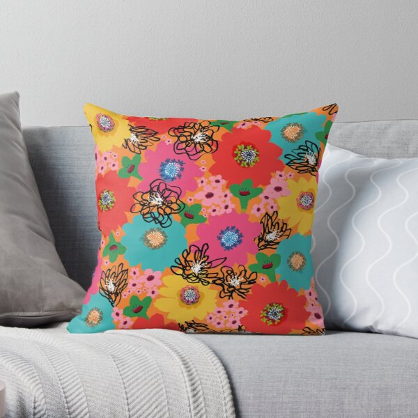 Flower Power – Orange Throw Pillow