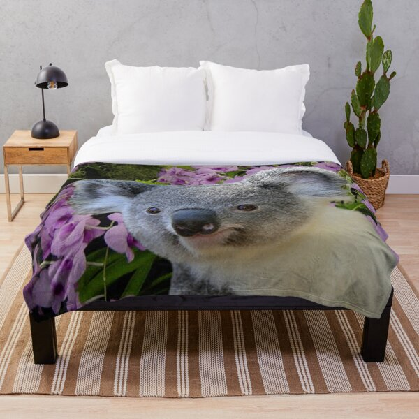 Koala and Orchids Throw Blanket
