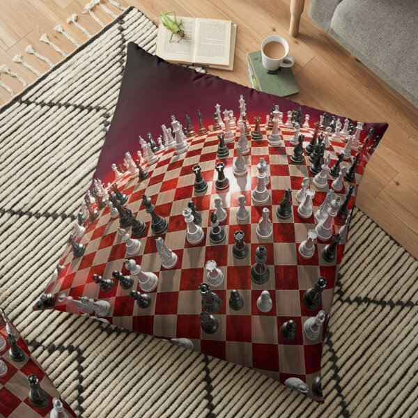 Chess, #competition, #chess, #war, #fun, #army, knight, winning, success, queen, chess piece, struggle, leisure games, strategy, agility Floor Pillow
