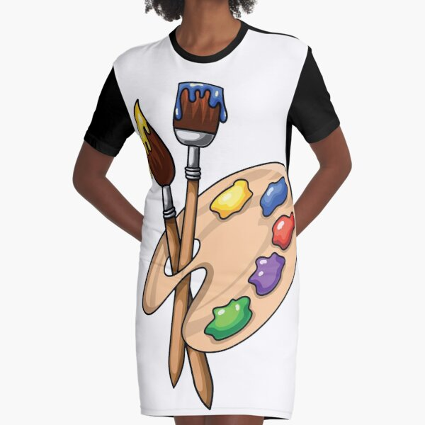 Cartoon wooden art Palette with paints and two brushes Graphic T-Shirt Dress