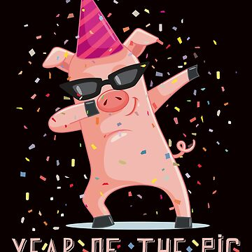 Chinese New Year / Year Of The Pig / Dabbing Pig / 2019 Year of the Pig / Happy New Year / Lunar Celebration / New Year Gift by larspat
