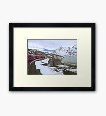 Bernina Train on the Bernina Pass..  Framed Print
