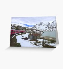 Bernina Train on the Bernina Pass..  Greeting Card