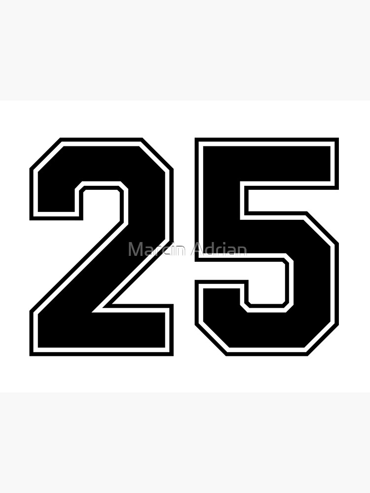 25 American Football Classic Vintage Sport Jersey Number in black number on white background for american football, baseball or basketball   Art Board ...